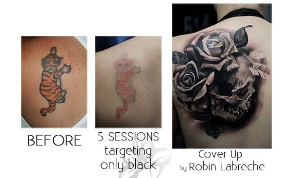A cover up tattoo of a skull and roses done by Robin Labreche.